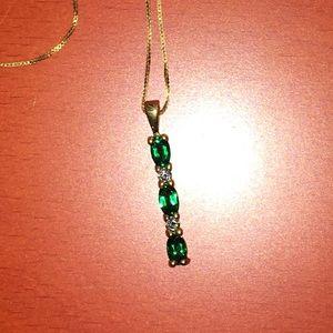 Jewelry - Lab Emeralds 0.08 CT TW Diamonds 14K Gold Necklace